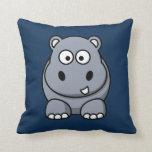 Hipopótamo en fondo azul marino cojin