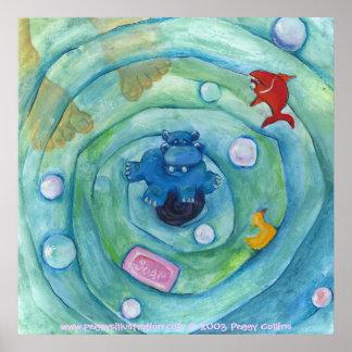 Hipopótamo en la bañera póster
