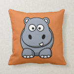 Hipopótamo en un fondo anaranjado almohadas