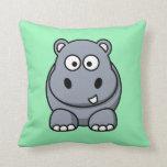 Hipopótamo en un fondo de la verde menta cojin
