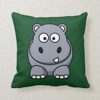 Hipopótamo en un fondo verde oscuro cojines