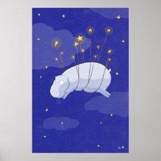 Hipopótamo estrellado estrellado, una posición del póster