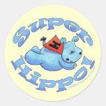 Hipopótamo estupendo etiquetas redondas