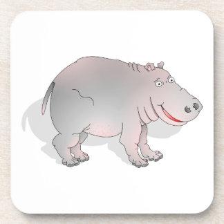Hipopótamo feliz del dibujo animado posavasos de bebida