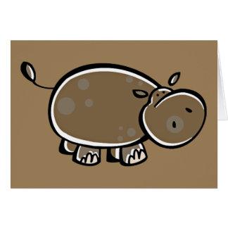 Hipopótamo feliz del dibujo animado tarjeta de felicitación