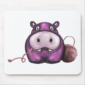 Hipopótamo feliz del ganchillo del hipopótamo tapetes de ratones