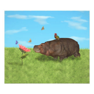 Hipopótamo feliz, flor, mariposas cojinete