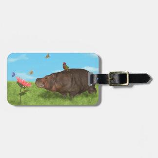 Hipopótamo feliz, flor, mariposas etiquetas maleta