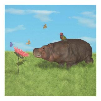 Hipopótamo feliz, flor, mariposas