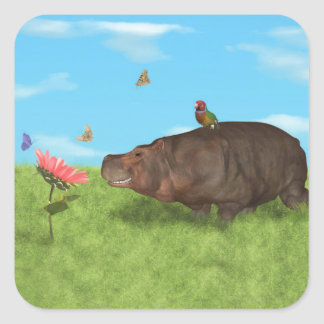 Hipopótamo feliz, flor, mariposas pegatina cuadrada