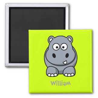 Hipopótamo feliz imán cuadrado
