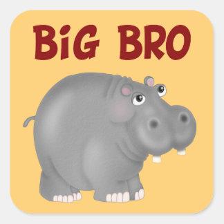 Hipopótamo grande de Bro Colcomanias Cuadradas Personalizadas