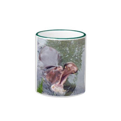 Hipopótamo grande de la boca taza