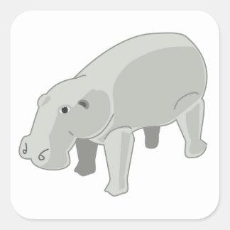Hipopótamo gris colcomanias cuadradas