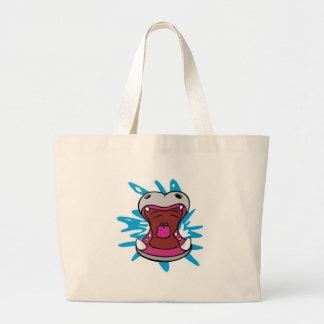 hipopótamo hambriento bolsas lienzo