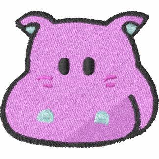 HIPOPÓTAMO HAMBRIENTO de la cara rosada linda del Sudadera Bordada