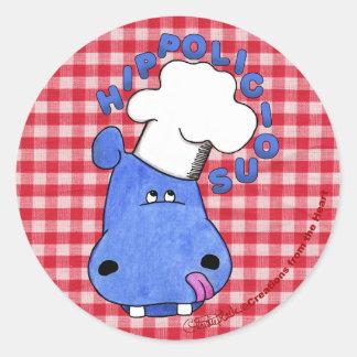Hipopótamo Hippolicious del cocinero Etiquetas Redondas