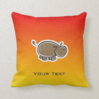 Hipopótamo lindo; Amarillo-naranja Cojin
