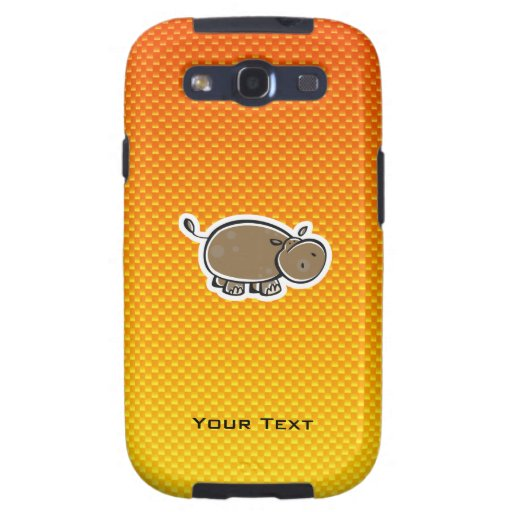 Hipopótamo lindo; Amarillo-naranja Samsung Galaxy SIII Funda