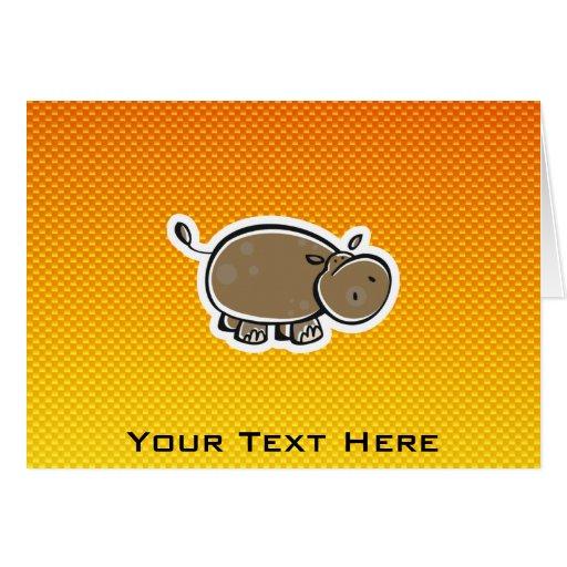 Hipopótamo lindo; Amarillo-naranja Tarjetón