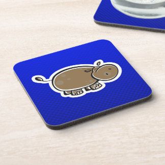 Hipopótamo lindo; Azul Posavasos De Bebidas