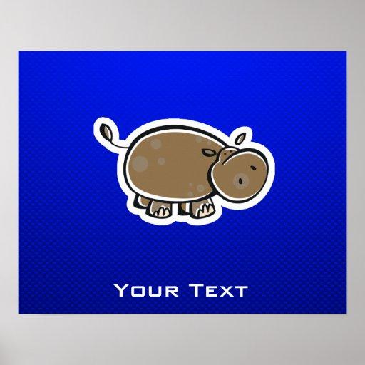 Hipopótamo lindo; Azul Posters