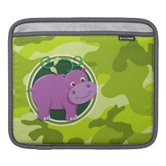Hipopótamo lindo; camo verde claro, camuflaje funda para iPads