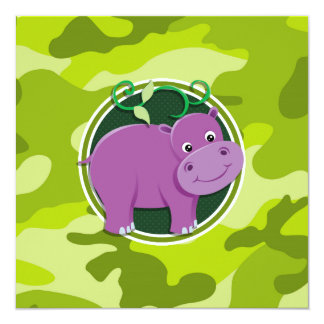 Hipopótamo lindo; camo verde claro, camuflaje invitacion personal
