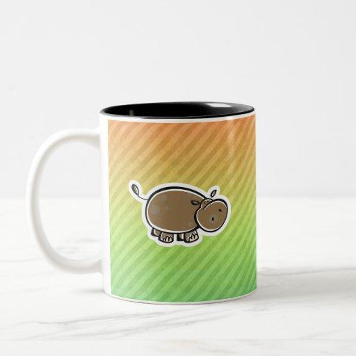 Hipopótamo lindo; Colorido Taza Dos Tonos