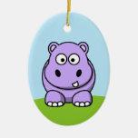 Hipopótamo lindo de la lavanda adorno