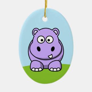 Hipopótamo lindo de la lavanda adorno navideño ovalado de cerámica
