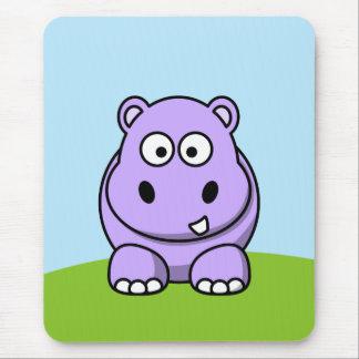 Hipopótamo lindo de la lavanda alfombrillas de ratón