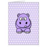 Hipopótamo lindo de la lavanda felicitaciones