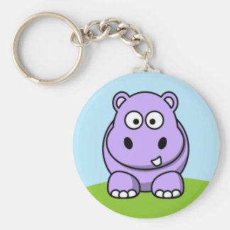 Hipopótamo lindo de la lavanda llavero redondo tipo pin