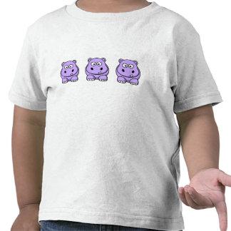 Hipopótamo lindo de la lavanda camisetas