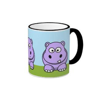 Hipopótamo lindo de la lavanda taza a dos colores