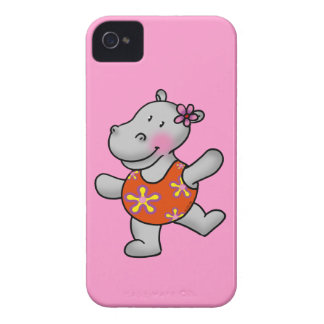 Hipopótamo lindo del baile en juego de natación iPhone 4 carcasas