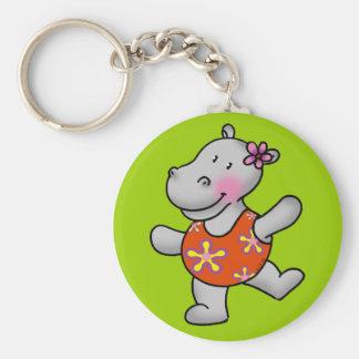Hipopótamo lindo del baile en juego de natación llavero redondo tipo pin