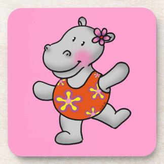 Hipopótamo lindo del baile posavasos de bebida
