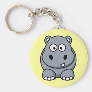 Hipopótamo lindo del dibujo animado llavero redondo tipo pin