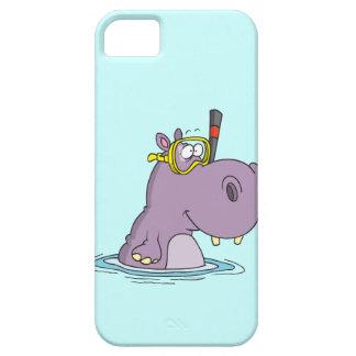 hipopótamo lindo divertido de la natación que buce iPhone 5 Case-Mate cobertura