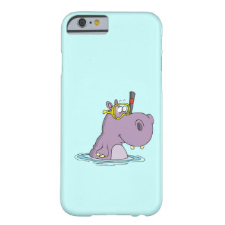 hipopótamo lindo divertido de la natación que funda de iPhone 6 barely there