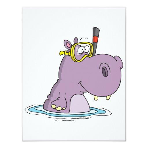 hipopótamo lindo divertido de la natación que invitación 10,8 x 13,9 cm