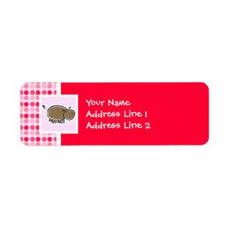 Hipopótamo lindo etiquetas de remite