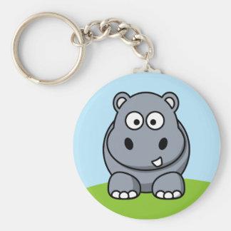 Hipopótamo lindo llavero redondo tipo pin