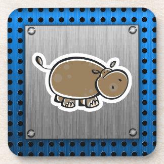 Hipopótamo lindo; Metal-mirada Posavasos
