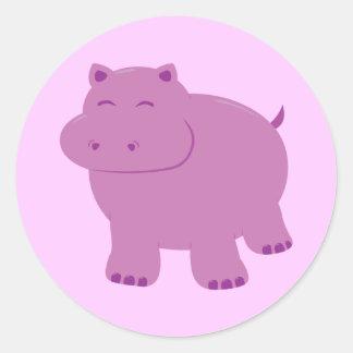 Hipopótamo lindo pegatina redonda