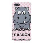 Hipopótamo lindo personalizado blanco rosado Clipa iPhone 5 Cobertura