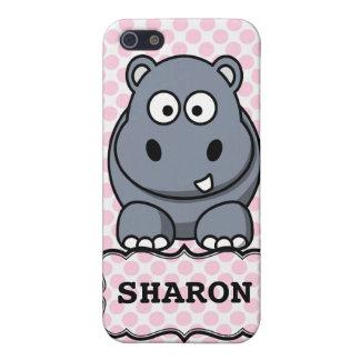 Hipopótamo lindo personalizado blanco rosado Clipa iPhone 5 Fundas