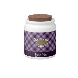 Hipopótamo lindo; Púrpura Jarras Para Caramelos